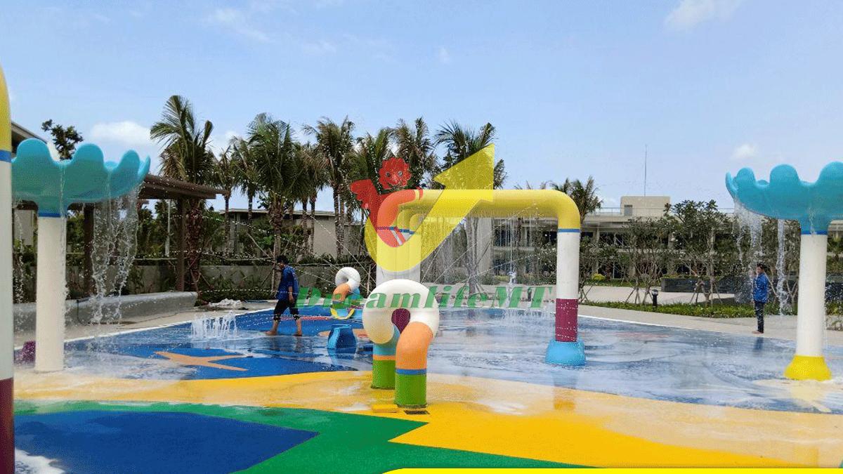 Thi công thiết bị phun nước nhập khẩu tại resort Pullman Phú Quốc